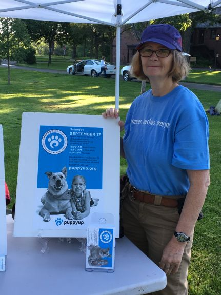 Lynn Baker of the PuppyUp Foundation at the Hinsdaleale Humane Society Pet Walk.